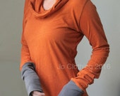 hooded top, extra long sleeves, lightweight Heather Burnt Orange with Cement cuffs