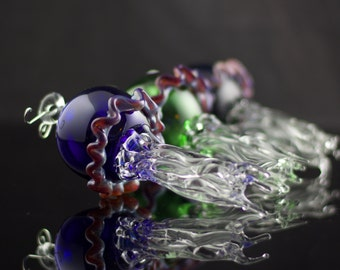 Jellyfish Hand Blown Ornament in You Choose the Color, Made to Order