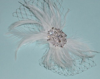 Clearance -- White Feather Wedding Fascinator  Ready to Ship