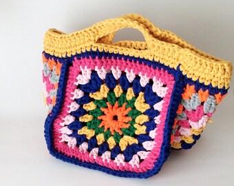 Granny Square Crocheted Summer Beach Bag, Storage Bag