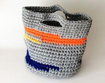 Sunrise Gray Crocheted Summer Beach Bag, Storage Bag