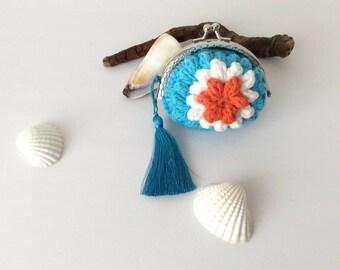 Blue Wallet, Flower Pouch Crocheted Purse Hands