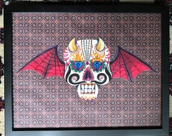 bat winged sugar skull