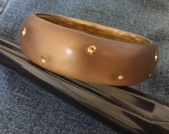 Vintage Satin Bronze Brown Lucite Bangle Rhinestones Early Plastic Bracelet 1960s Mod Bangle Mid Century
