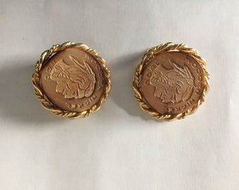 Vintage Signed ART Earrings Wooden Nickel Indian Head Gold tone Native American Clip backs Retro 1960s 1970s