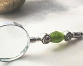 Magnifier glass -  greenery art glass - so pretty - do not fight it if you need some help to see the big picture