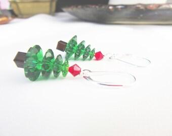Green Xmas Earrings - Christmas Jewelry - Christmas Green Tree Earrings - Crystal Tree Earring - Xmas Jewelry - Silver Holiday Earrings