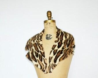 SALE- Mink collar -Real mink faux leopard  fur collar scarf-stenciled mink fur collar scarf