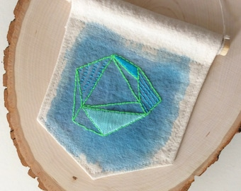 Turquoise Geometric Art, Abstract Embroidery, Modern Minimalist Decor, Ready To Ship, Turquoise Wall Hanging, Blue and Green Textile Art