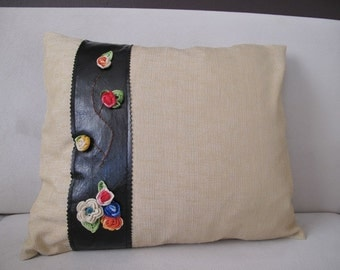 Crochet  motif pillow cover , imitation leather,  Pillow cover 18x19 inc . Living room pillow cover, handbag