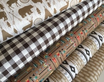 High Adventure fabric, Plaid fabric, Deer fabric, Teepee fabric, Arrow fabric, Bear fabric, Farmhouse Decor, Bundle of 5- Choose the Cuts