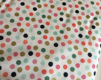 Polka Dot fabric, Pink Gold Nursery fabric,  Modern Baby Quilt fabric, On Trend Dots in Pink, Nursery Decor, Choose Your Cut