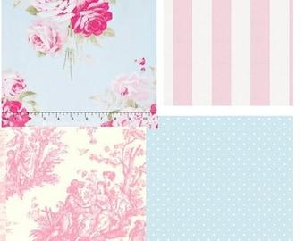 Custom for teresa johnson Shabby Chic Pink and Blue Roses/Toile Luxury Ruffled Crib Bedding Set
