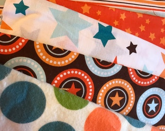 Riley Blake All Star Orange Green Brown & Blue Scraps/Yardage Destash Lot Flat Rate Shipping 1lbs 8.2oz. of fabric Perfect For Quilt Making
