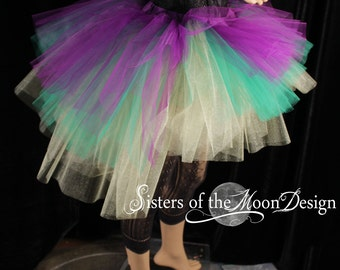 Mardi Gras tutu tulle skirt hi low layered purple gold princess dance costume bachelorette bridal party race run -You choose size- SOTMD