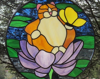 Stained Glass Fat Ginger Buddha Kitty Cat Round Suncatcher.