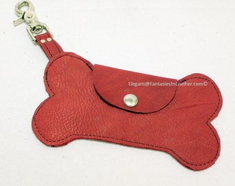 Dog Bone Red Leather Pouch (MIS1280