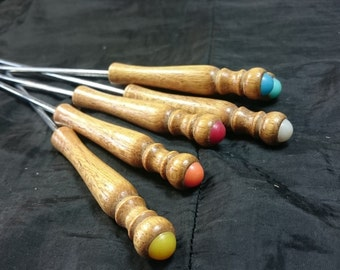 Vintage Wood and Chrome Metal Fondue Forks with Multicolored Ends 1960's