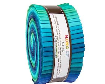 """Robert Kaufman Kona Cotton Julie Herman Roll Up 2.5"""" Precut Fabric Quilting Cotton Strips Jelly RU-468-40"""