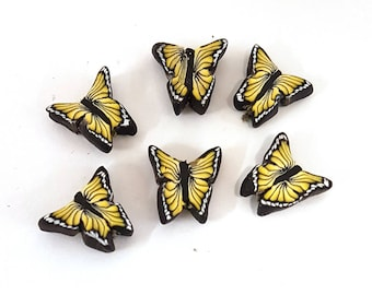 Yellow Butterfly Beads, Sunny Flutterbyes, Polymer Clay Beads