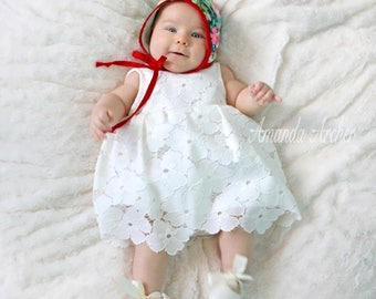 Floral Bloom White Lace Dress for Baby, Baptism, Christening Dress, Special Occasion