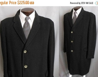 CLEARANCE SALE Vintage 60s Men's Cashmere Coat, Luxury Black Topcoat Over Coat, Size 46R 46 Regular, Large L