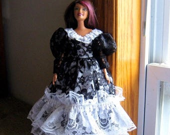 ON SALE Barbie Dress Black and White Lace