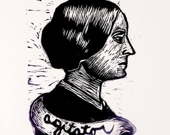 Susan B. Anthony Art Linocut Print,  Agitator, Suffragette Art, Linocut Print Wall Art, Linocut, Print