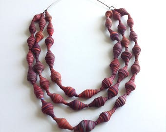 Multi stranded statement necklace, marbled red, art jewelry, ruby, beaded necklace