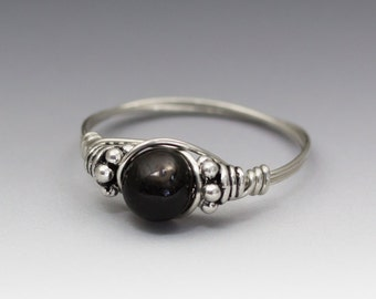 Hypersthene Enstatite Ferrosilite Bali Sterling Silver Wire Wrapped Bead Ring - Made to Order, Ships Fast!