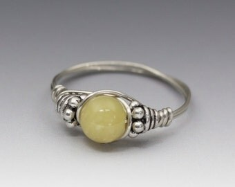 Yellow Opal Bali Sterling Silver Wire Wrapped Bead Ring - Made to Order, Ships Fast!