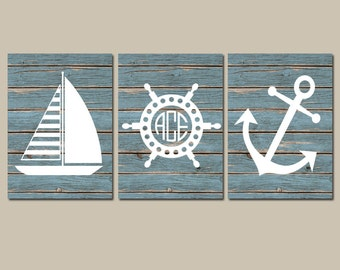 Superbe NAUTICAL Wall Art,Nautical CANVAS Or Print,Ocean Bathroom Decor,Monogram  Initials,