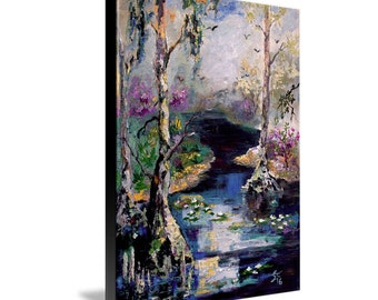 8 by 11 inch Canvas Print Suwannee River Wetland Landscape Portrait Oil Painting