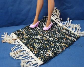 Dark Green Rag Rug for Barbie and other Fashion Dolls