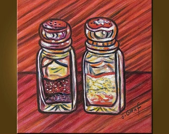Salt and Pepper -- 10 x 10 inch Original Oil Painting by Elizabeth Graf on Etsy -- Art Painting, Art & Collectibles