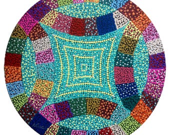 "Quilting block.  Acrylic 12"" round on black canvas board. black, blue, purple yellow pink green blue orange red white"