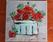 Sweet Red Berries in a Basket - abstract Acrylic on Canvas Painting