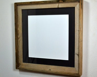 16x16 square frame with black mat for 12x12 or 14x14 prints ready to ship