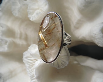 Golden Rutile Agate Ring Size 6.75