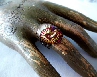 Paisley Swirl Antique Bronze Ring