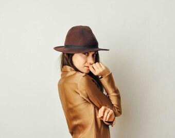 Vintage Brown Wool Hat
