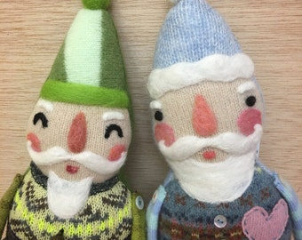 Eco-Friendly Plush Nordic Style Valentine Santa Doll - Choose Your Favorite Doll - Needlefelted Collectible Doll by Val's Art Studio