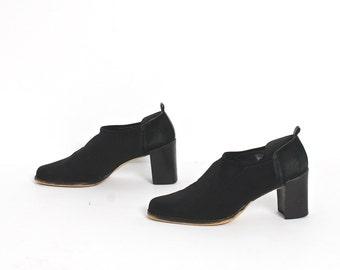 size 8.5 CHELSEA black elastic 80s 90s MINIMAL slip on high heel