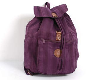 BACKPACK purple LINEN canvas 80s 90s tan vegan leather KNAPSACK rucksack