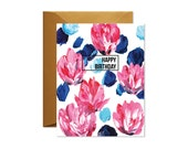 HAPPY BIRTHDAY Pink and Blue Floral Greeting Card / Handpainted / Gold
