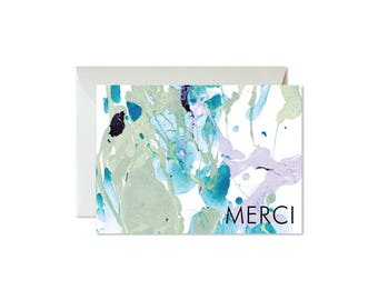 MERCI | Thank You Aqua Eucalyptus Lilac Marble Notecards + Envelopes Pack | Boxed Set (8) | Abstract | Modern