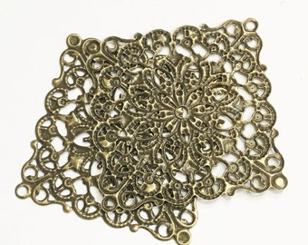 100 pcs of Antiqued brass Rhombus square filigree wrap 40x40mm, bulk filigree square
