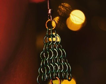 Chainmaille Earrings - Green Yule Christmas Tree European 4-on-1