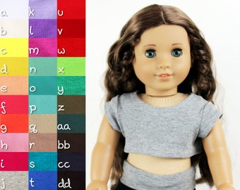 Fits like American Girl Doll Clothes - Cap Sleeve Cropped Top, You Choose Color, Made To Order