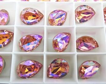 1 Rose Peach Glacier Blue Swarovski Crystal Stone Pear 18mm x 13mm